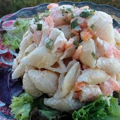 "Shrimp and Pasta Shells Salad | ""When I want to make a macaroni salad just a little bit extra-special, nothing does the trick like some small, sweet shrimp. This is one of my favorite summer salads, and it's oh-so-easy."""