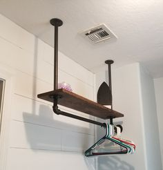 Hanging Pipe shelf for laundry closet Laundry Room Remodel, Laundry Closet, Laundry In Bathroom, Small Laundry Rooms, Laundry Area, Laundry Room Organization, Laundry Room Design, Laundry Room Shelving, Laundry Room Lighting