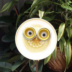 Whooo Owl Hoot Glass Plate Flower repurposed garden art