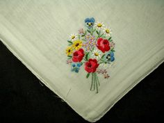 Bouquet Flowers Embroidery Vintage Hankie Handkerchief