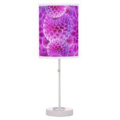 Purple Dahlias Desk Lamps