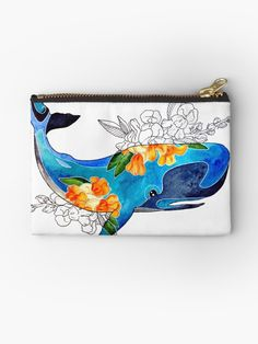 'Blue cachalot whale with yellow flowers' Zipper Pouch by Cute Pencil Pouches, Pencil Bags, Zipper Bags, Zipper Pouch, School Pens, Colorful Candy, Painting Leather, Candy Bags, Small Bags