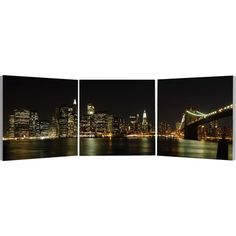 Elementem Photography NYC Skyline Triptych Wall Art ($220) ❤ liked on Polyvore featuring home, home decor, wall art, backgrounds, pictures, art, apple home decor, new york city wall art, 3-panel and skyline wall art