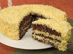 Receita de Bolo de Chocolate e Coco - bolo em três camadas e alterne com o recheio. Cubra com uma boa camada do doce de coco. Coloque a manteiga em um recipiente e leve ao fogo em...