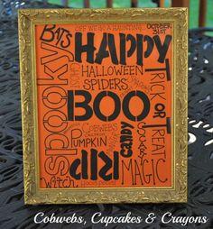 DIY Halloween Decoration: Halloween Word Art (From Cobwebs, Cupcakes & Crayons)