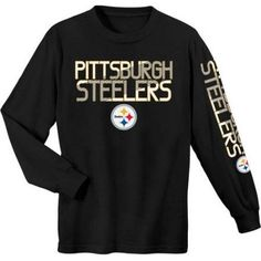 NFL Pittsburgh Steelers Youth Long Sleeve Cotton Tee, Boy's, Size: XL, Black