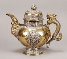 Tibetan Bronze & Silver-Mounted Teapot & Cover with Dragon Handle, 19th century