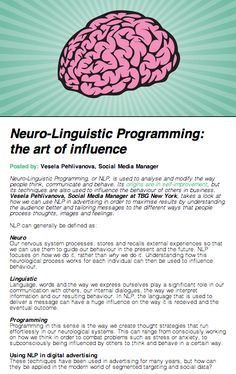 Neuro-Linguistic Programming: the art of influence #InsideSocial