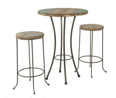"""Round 28"""" bar height bistro table made with solid chilean pine with a distressed finish and antique copper finished metal legs. Includes two 30"""" barstools with wood set metal base."""
