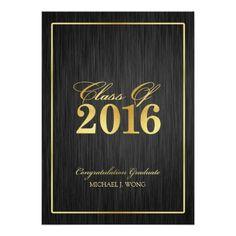 Elegant Modern Gold Class of 2016 Graduation 5x7 Paper Invitation Card