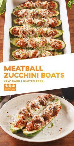 Zucchini Boats I'd use meatless meatballs.Meatball Zucchini Boats = Low-Carb Dinner GoalsDelishI'd use meatless meatballs. Zucchini Boat Recipes, Veggie Recipes, Paleo Recipes, Low Carb Recipes, Zucchini Boats, Cooking Recipes, Pumpkin Recipes, Soup Recipes, Meal Planning