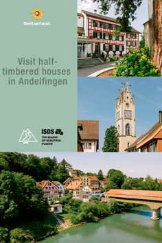 The historical bridging point of Andelfingen lies above the Thur river and is nestled amid the unspoilt landscape of the Zürcher Weinland winegrowing region. Switzerland Tourism, Grand Tour, Heritage Site, Beautiful Places, The Incredibles, Tours, Mansions, Landscape, House Styles