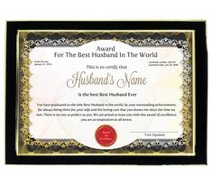 Personalized Award Certificate For Worlds Best Boyfriend With ...