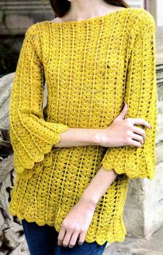 tejidos artesanales en crochet: pullover tejido en gajos