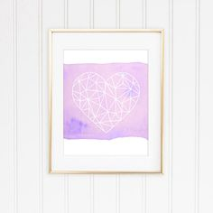 Check out this item in my Etsy shop https://www.etsy.com/listing/254985032/geometric-heart-watercolor-in-purple