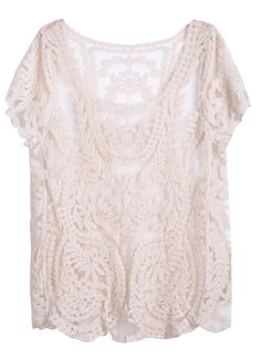 Apricot Short Sleeve Hollow Crochet Lace Top » SO pretty, I could wear this all the time!