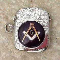 Cigarette Case, Freemasonry, Masons, Silver Enamel, Smoking, Sterling Silver, Antiques, Box, Hair