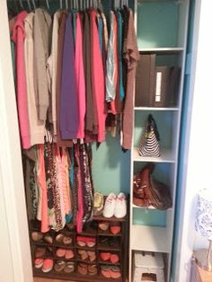 Organizing a small closet....I want to do this in my daughters closet!!  Wait until you see what Erin & Gus did for the boys' closet.  That would make sense to do in both your kids' closets.