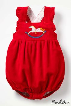 f71edfa4b00a8 Girls Boden Red Frilly Romper - Red Baby Boden