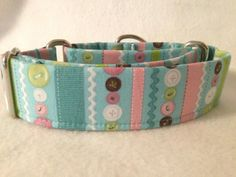 Stitched Garden Button Stripe Blue by DogCollarsByDesign on Etsy, $11.00