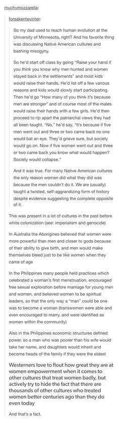 Women actually used to be treated differently in the past, but they won't teach you that in school aliens cultures women feminism history Angst Quotes, Intersectional Feminism, The More You Know, Faith In Humanity, History Facts, In This World, Equality, Just In Case, Fun Facts