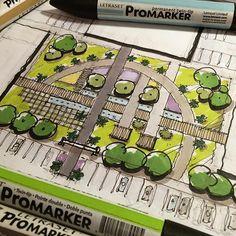 Urban Landscape Sketch Architecture Drawings Ideas For 2019 Landscape Architecture Drawing, Landscape Design Plans, Landscape Sketch, Landscape Drawings, Architecture Plan, Contemporary Landscape, Urban Landscape, Auckland, Plaza Design