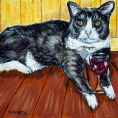tuxedo cat ceramic art tile COASTER gift JSCHMETZ modern folk art wine