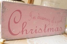 Pink Christmas Shabby Cottage sign with glittered snowflakes and rhinestones