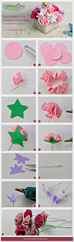 Tutorial on How to Make a Felt Carnation Flower Bouquet for Mother's Day from LC.Pandahall.com    #pandahall