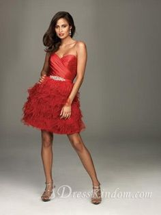 Sexy Hot Red A Line Sweetheart Short / Mini Taffeta Cocktail Dress Decorated with Feather and Shinning Ornaments [10105776] - US$133.99 : Dr...