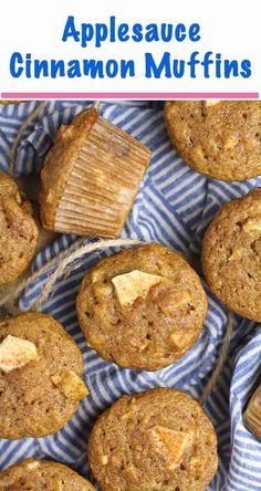Applesauce Cinnamon Muffins are a healthier muffin, using cinnamon applesauce to add extra moisture and flavor. These also contain two cups of diced apples and a big dash of cinnamon that will make your house smell like fall, and you'll be coming back for more! | suebeehomemaker.com | #applesaucecinnamonmuffins #applemuffins Sweet Breakfast, Perfect Breakfast, Breakfast Ideas, Breakfast Recipes, Best Dessert Recipes, Fun Desserts, Real Food Recipes, Snack Recipes, Muffin Recipes