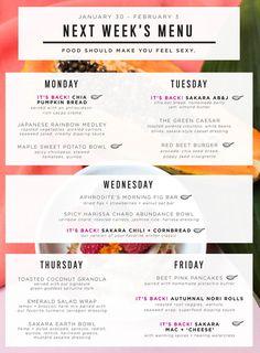 Sakara next week's organic meal delivery menu