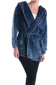 American Bazi Women's Wrap Denim Hoodie Jacket AJK203 - C12G * For more information, visit image link.
