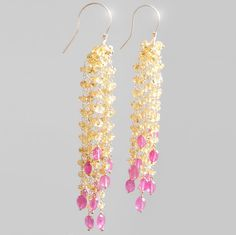 Yellow and Hot Pink Sapphire Dangle Earrings by BijouxOdalisque