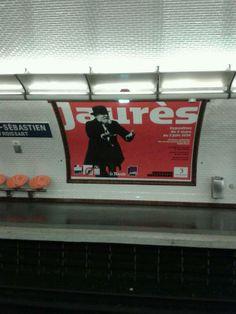 """Affiche de l'exposition """"Jaurès"""" aux @Archives nationales France dans le métro parisien. (Photo B.Kermoal @ enklask)"""