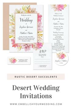 These desert wedding invitations feature a unique watercolor succulents design with rustic desert colors. Visit our website to see the full range of matching wedding stationery. #weddinginvitations #weddinginvites #weddingstationery #wedding #desertweddinginvitations #succulentweddinginvitations #desertweddings #succulentweddings #bohoweddinginvitations #bohoweddinginvites
