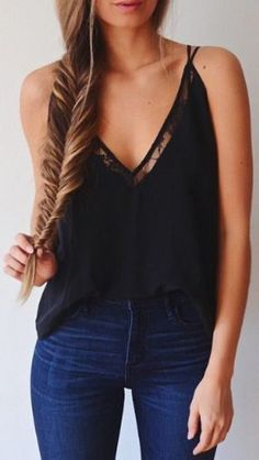 Wheretoget - Plunge V-neck black spaghetti straps top with lace detailing paired with blue jeans
