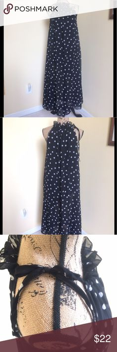 "🐬NWT TS THREE SEASONS BL/WHT DOT MAXI DRESS NWT Gorgeous black with white polka dot print maxi dress from TS Three Seasons. Halter style with stand up ruffled collar. Ties allow for more or less gathers and better fit. Flowing fabric is semi-sheer and lined. Lining is 8"" shorter than full length of dress. Flat/unstretched: bust 28"", length from collar to hem 52"". 100 poly. OS TS Three Seasons Dresses Maxi"