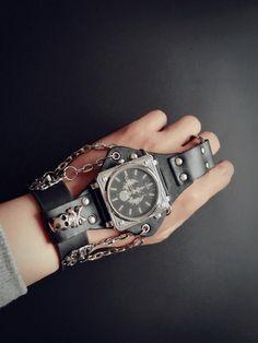 68f74edb6 Punk Rock Black Leather Bracelet Wrist Watch- Unisex