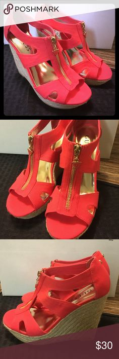 """💕Coral Guess Wedges size 5.5 Coral GUESS summer wedges size 5.5. Zipper down front, with orange triangle Guess emblem. New without box, never worn! Wedge 4-4 1/2"""". Small 1"""" platform in front for a little but if comfort. Guess Shoes Wedges"""