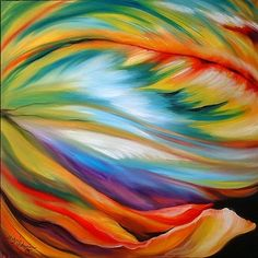Abstract Acrylic Paintings | Art: ABSTRACT PARROT TULIP by Artist Marcia Baldwin