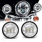 Opar Black 4.5″ Inch Cree Led Spot Lights 6000k White Passing Projector Fog Lamp for Harley Davidson Motorcycles