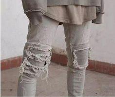 ARA Slim Fit Vintage Distressed Motorcycle Ripped Jeans