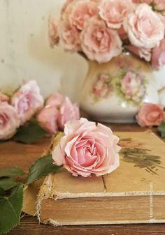 Pink roses Photography  Still life Vintage book Rita Reade