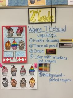 Jamestown Elementary Art Blog: Second grade Wayne Thiebaud pop art cupcakes