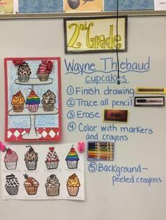 Jamestown Elementary Art Blog: Second grade Wayne Thiebaud pop art cupcakes