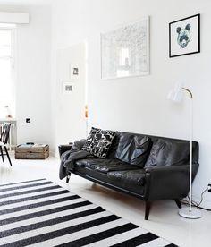Vintage black leather Georg Thams sofa