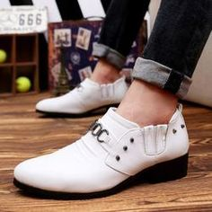 Mens Faux Leather Pointed Shoes Обувь Кэжуал 6b022aaae74b