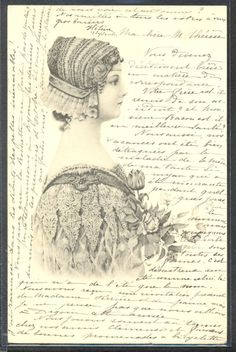 NP059 ART NOUVEAU VIENNE Style a/s SCHWEIGER BEAUTIFUL LADY in PROFILE TULIPS