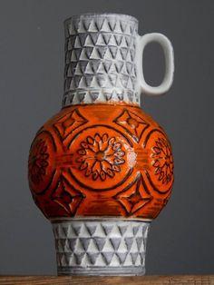 Vintage 60-70 s BAY KERAMIK 63-20 Orange Vase West German Pottery Fat Lava Era